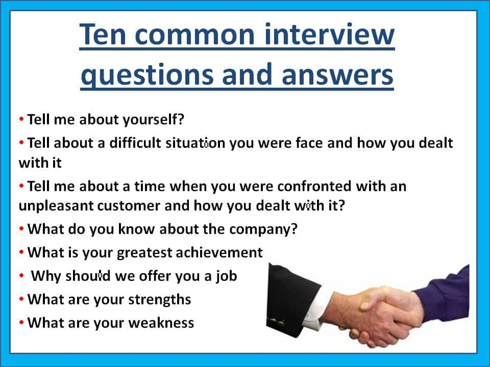 10 Of The Most Common Interview Questions
