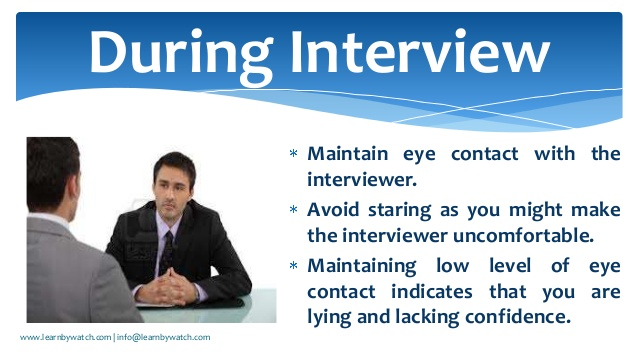 ‪#‎InterviewTips‬ Eye Contact During An Interview