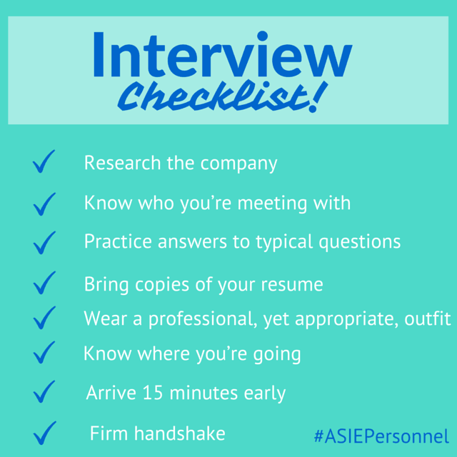‪#‎InterviewTips‬ Interview Checklist To Help You Prepare For Your Interview.