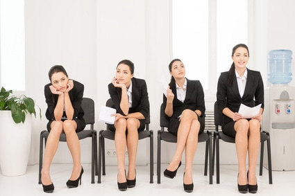 Four different poses of one woman waiting for interview. =