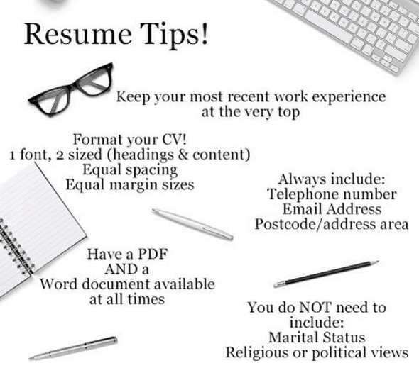 CVTips Follow These Tips To Help Make Your CV Easy To