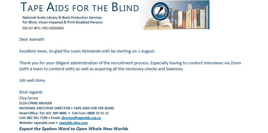 Excellent Thank You - Tape Aids for the Blind